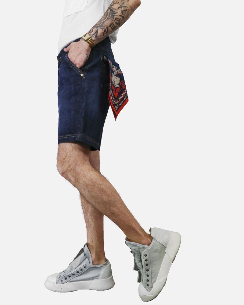 Short bermuda en jean à foulard Frankie Morello