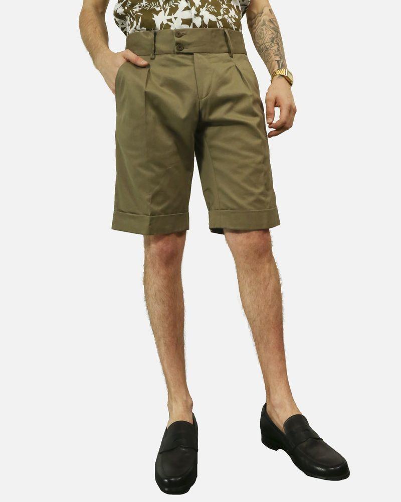 Bermuda short en coton kaki à bande latérale Marchand Drapier