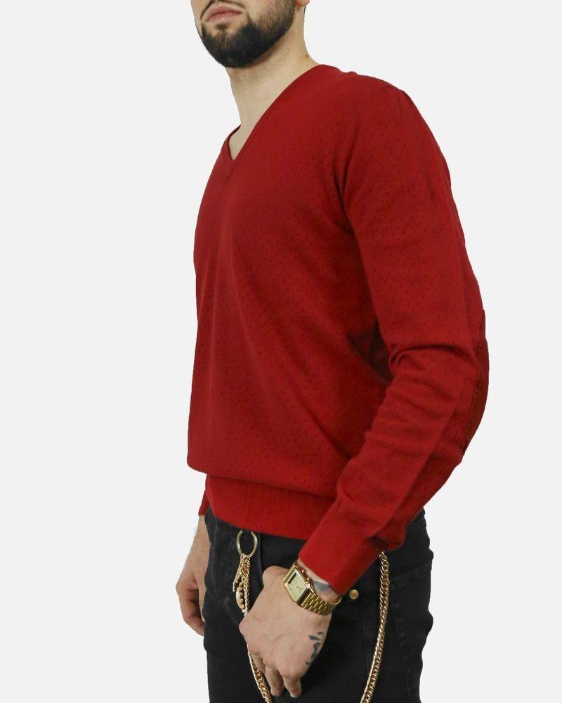 Pull en coton rouge piqué Marchand Drapier