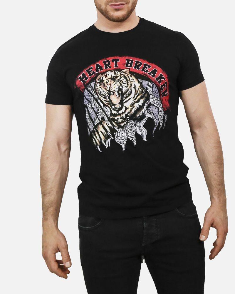 T-shirt en coton noir floqué tigre Roberto Cavalli