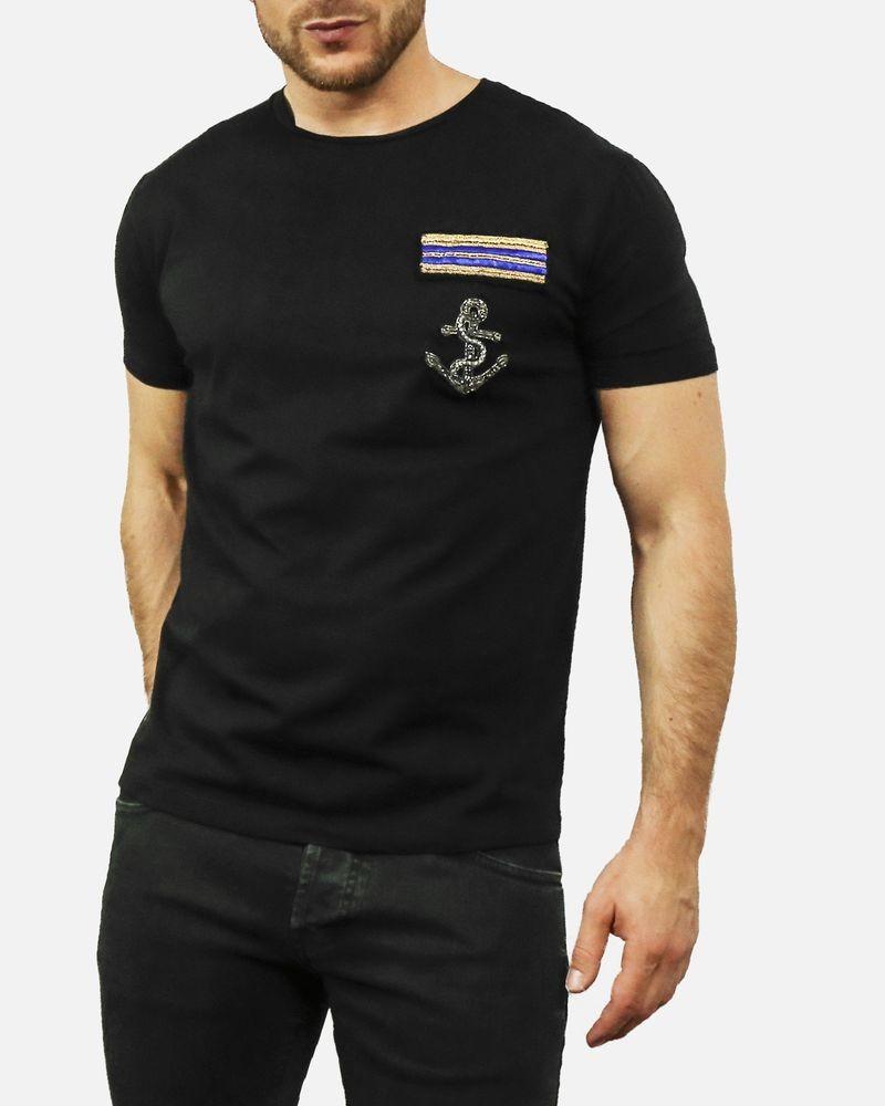 T-shirt en coton noir à broderie ancre L'Edition