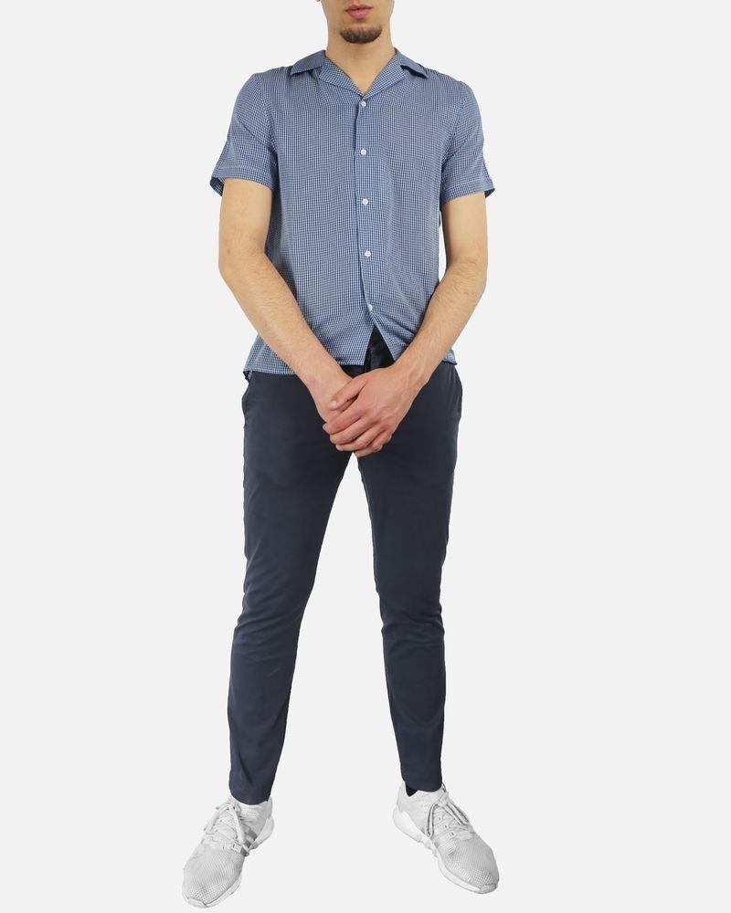 Pantalon régular fit en coton bleu Marchand Drapier