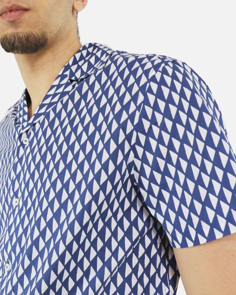 Chemise bleu à imprimé géométrique blanc Edition M.R