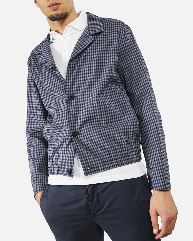 Blouson veste gris à petit carreaux bleu Edition M.R