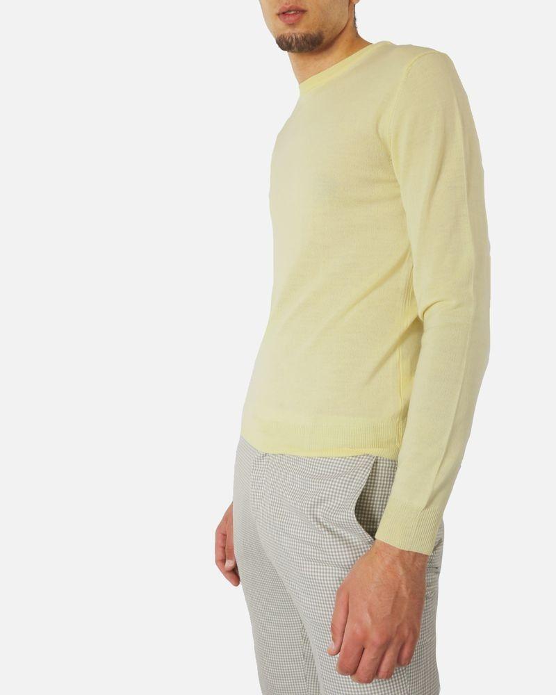 Pull col rond jaune en mérinos Edition M.R