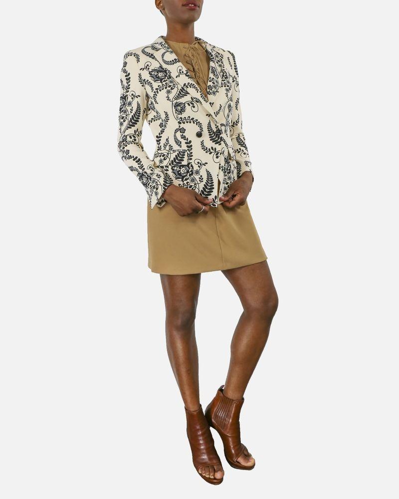 Veste blazer beige à imprimé floral noir Elisabetta Franchi