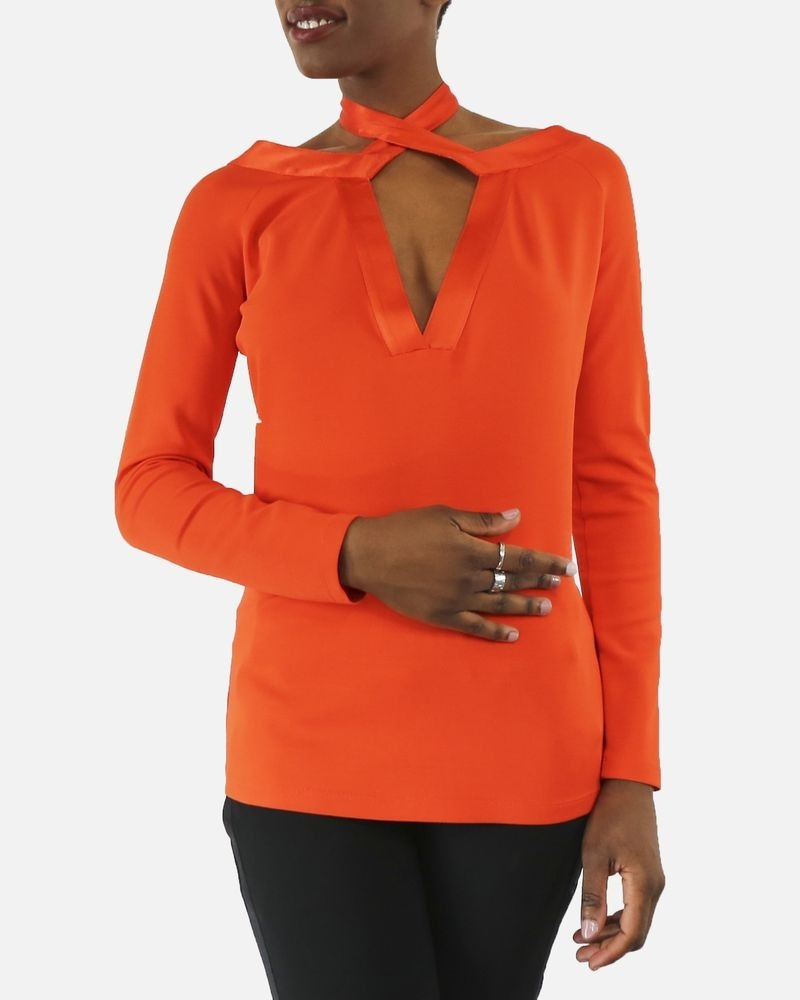 Blouse en soie orange à lien Givenchy