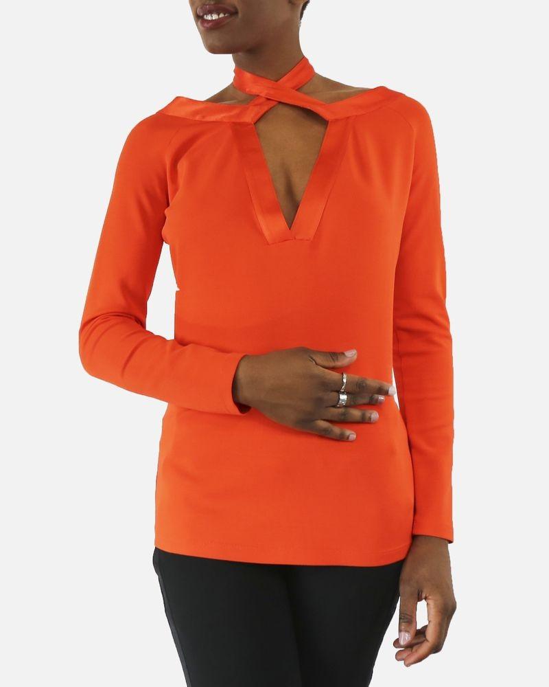 Blouse en soie orange à lien Givenchy