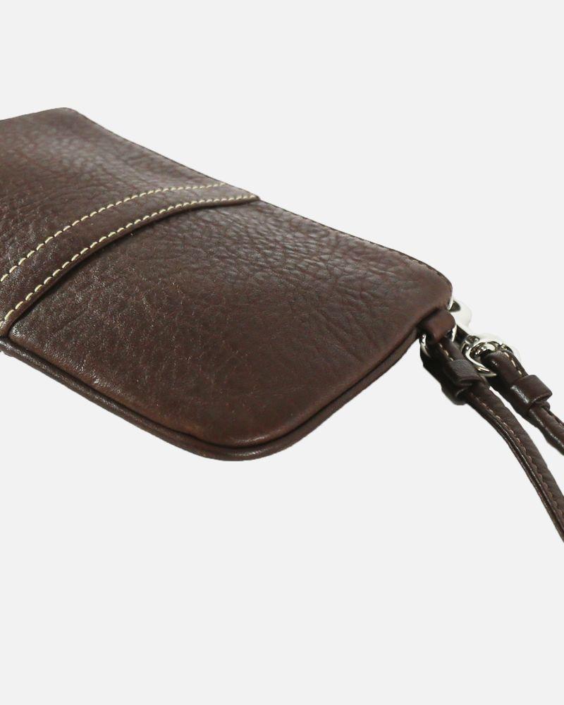 Porte monnaie en cuir grainé marron Coach