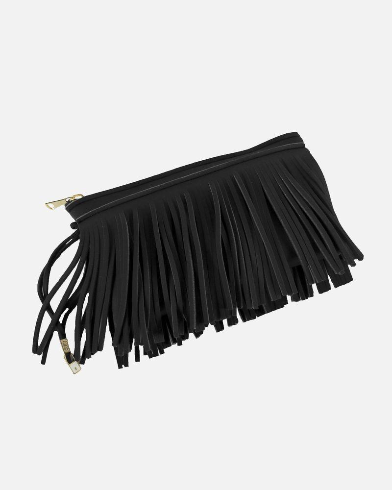 Pochette noir a franges Save My Bag