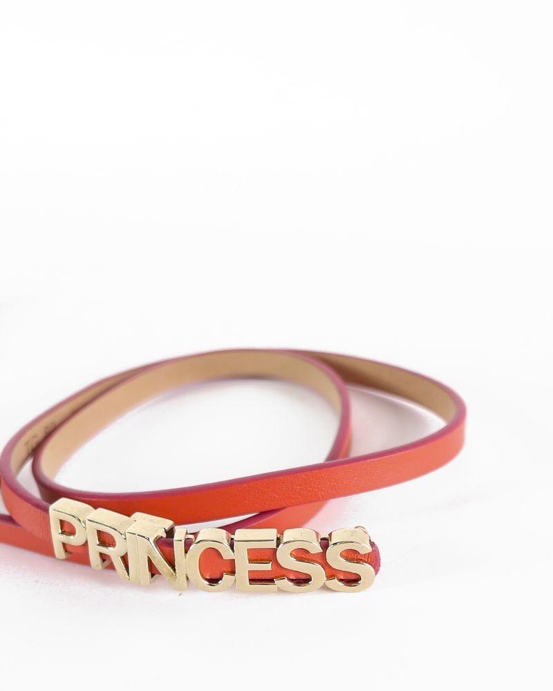 Ceinture fine en cuir corail à boucle couronne dorée Red Valentino