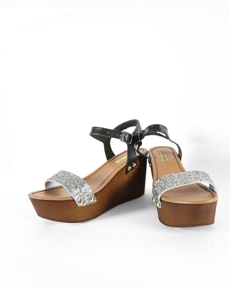 magasin en ligne f2323 d595c Sandale à talon compensé pailleté Tosca Blu