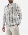 Veste blazer croisé en coton blanc à rayures bleu Edition M.R