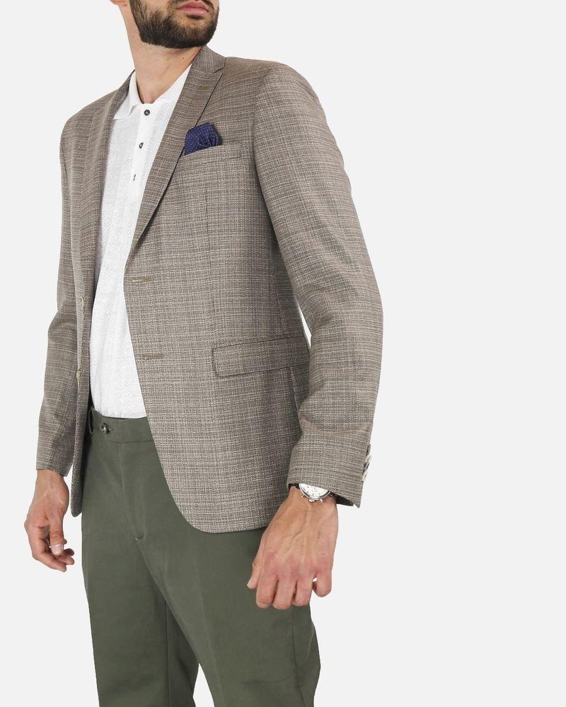 Veste blazer en laine marron à pochette fantaisie Sand