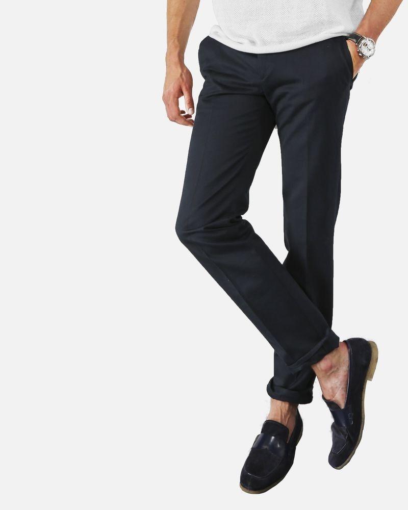 Pantalon tailleur chino en coton bleu Edition M.R