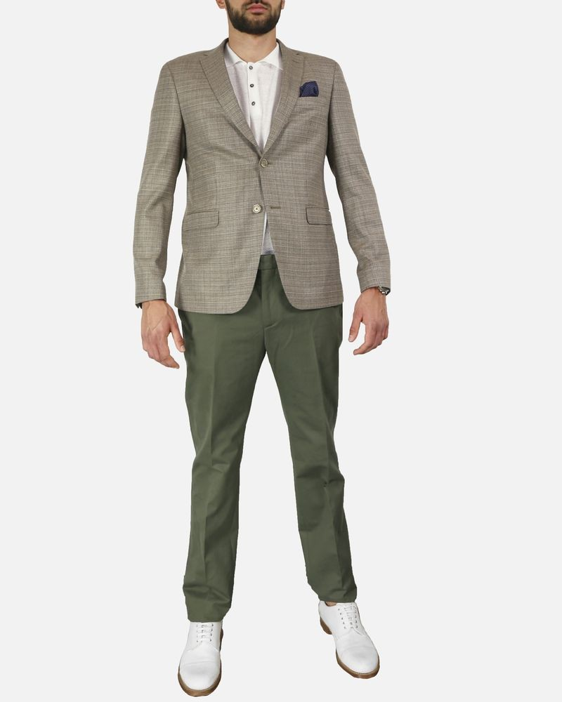 Pantalon tailleur chino en coton kaki Edition M.R