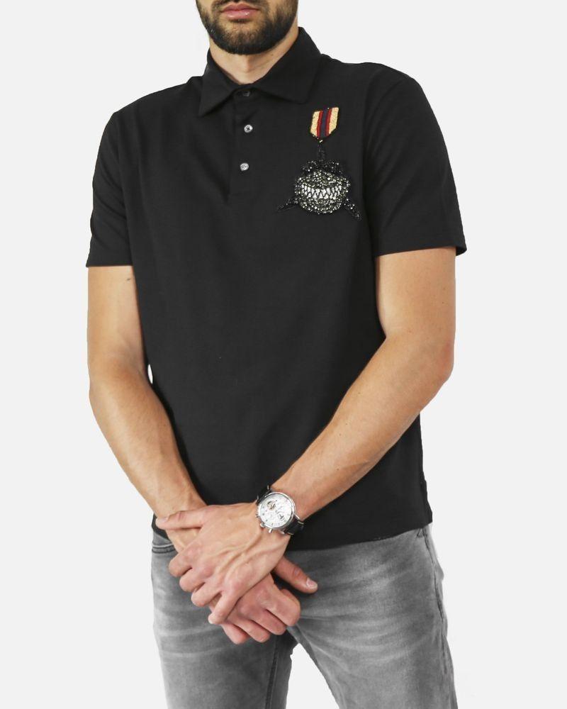 Polo en coton noir à broderie requin L'Edition