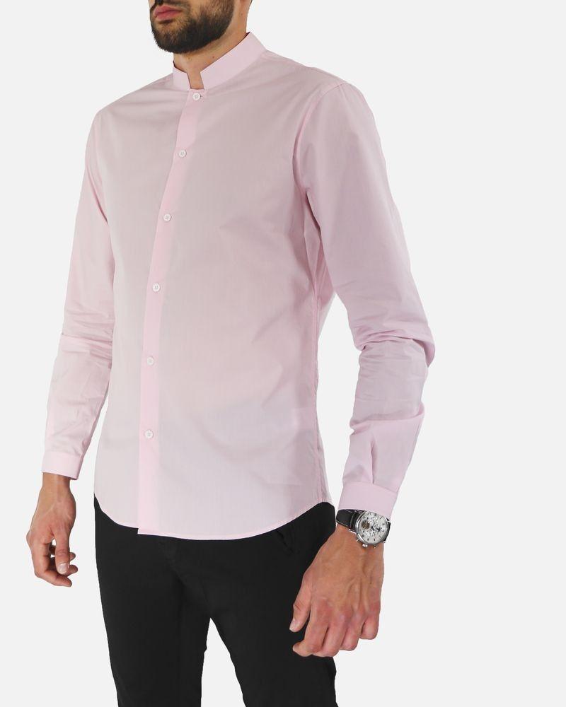 Chemise en coton rose à col mao Edition M.R