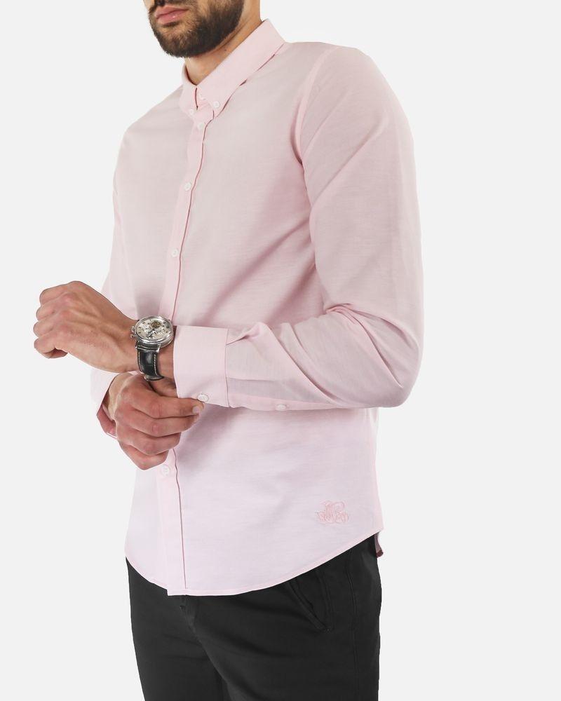 Chemise slim en coton rose Edition M.R