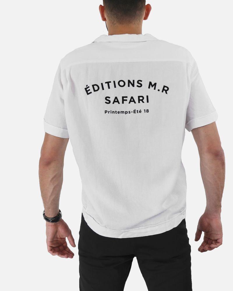 Chemise en tissu japonais blanc à flocage noir Edition M.R