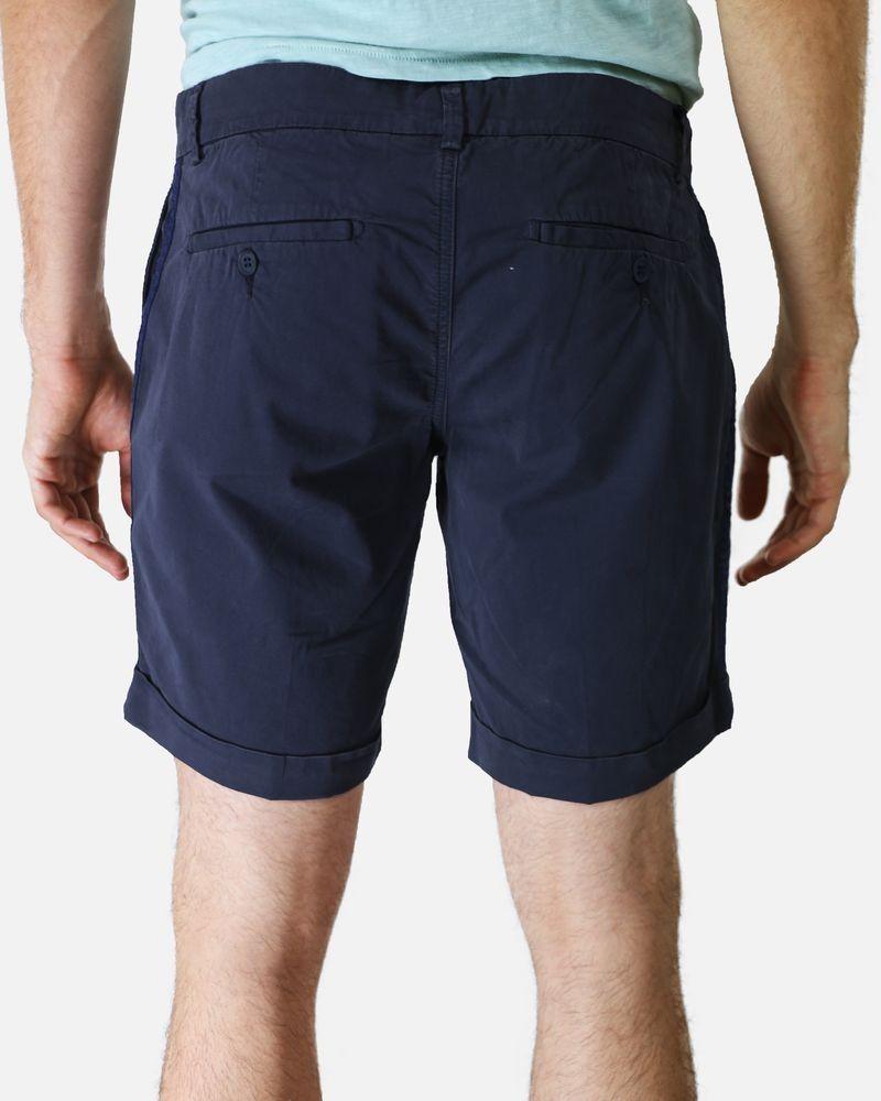 Short en coton bleu à bande latérales Marchand Drapier