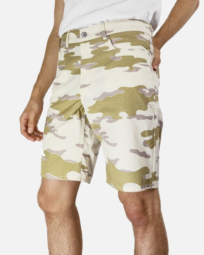 Bermuda short en coton beige camouflage Edition M.R