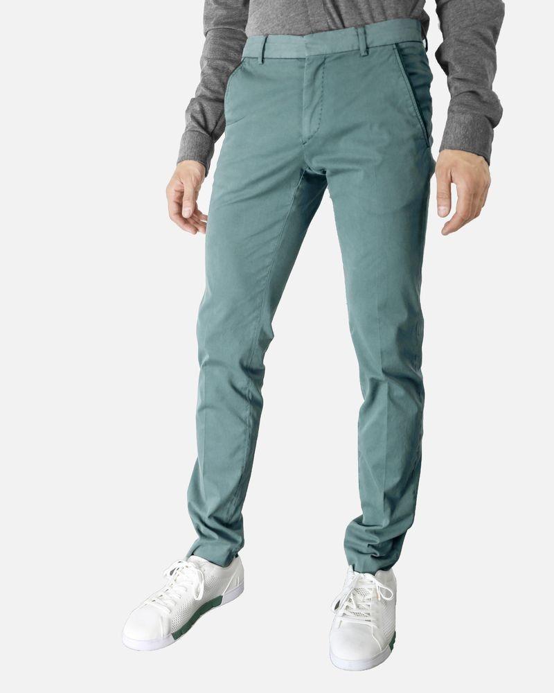 Pantalon régular fit en coton vert Marchand Drapier