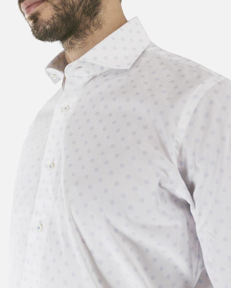 Chemise en coton blanc à petites fleurs bleu Jackett & sons