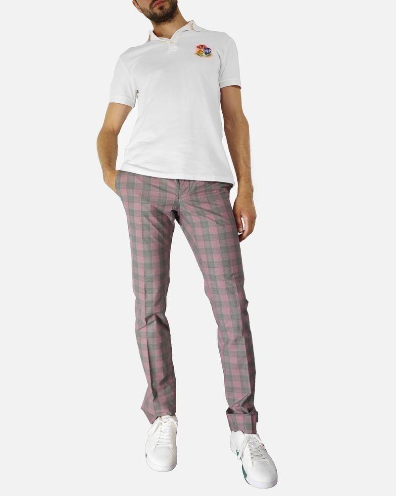 Pantalon régular gris à carreaux rouge Marchand Drapier