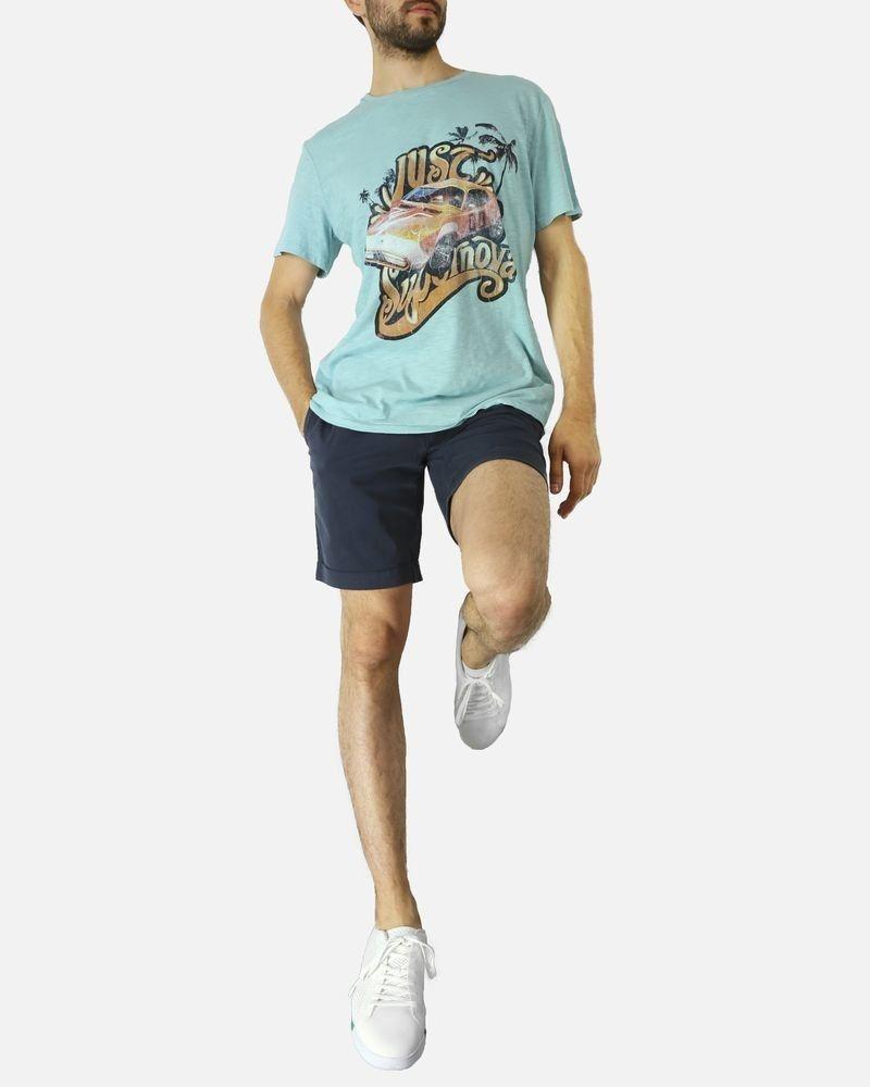 T-shirt en coton bleu à imprimé voiture Roberto Cavalli