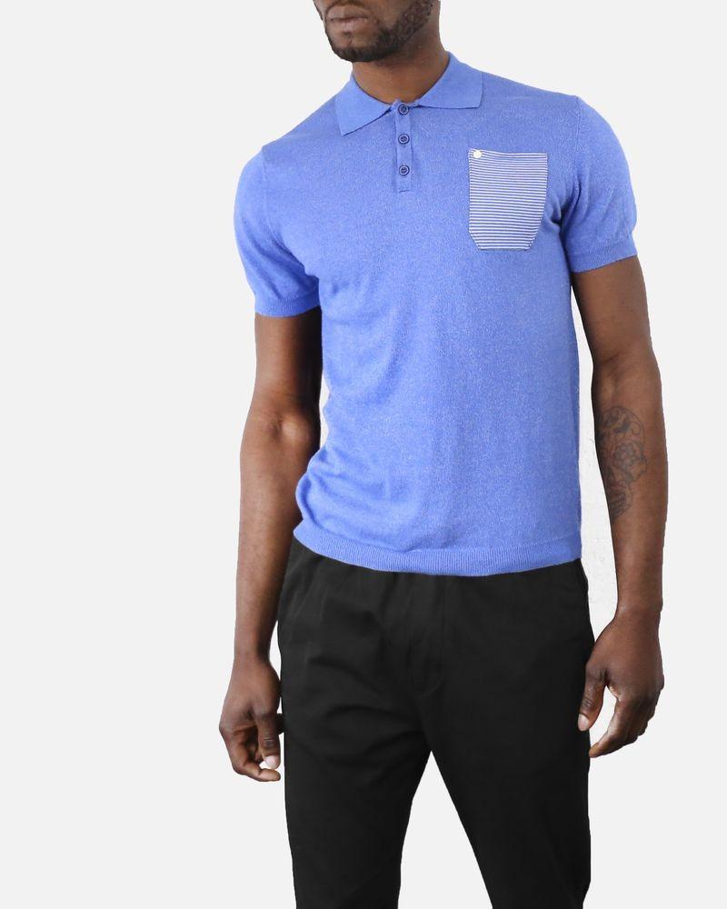 Polo en coton bleu à poches à rayures Woolgroup Fiesoli