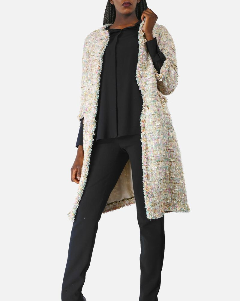 Manteau en tweed beige et pastel à galon frangé