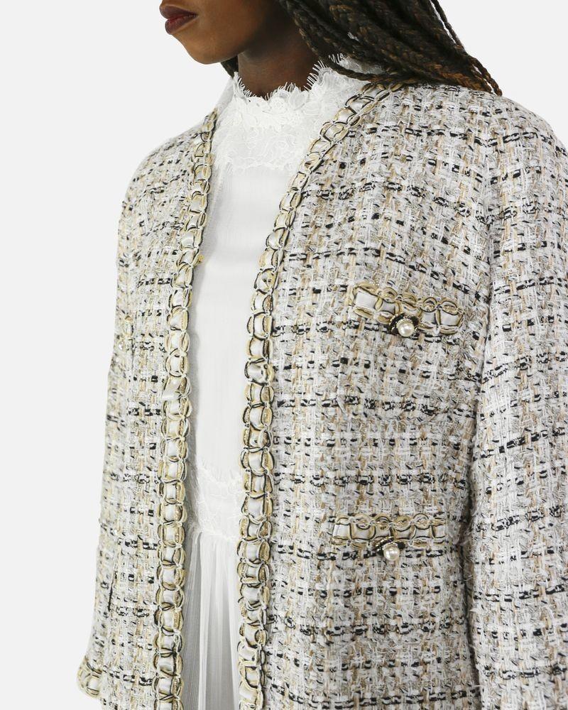 Manteau en tweed beige et noir Edward Achour