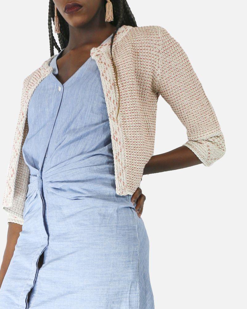 Veste courte façon tweed tricoté beige et rouge Nenette