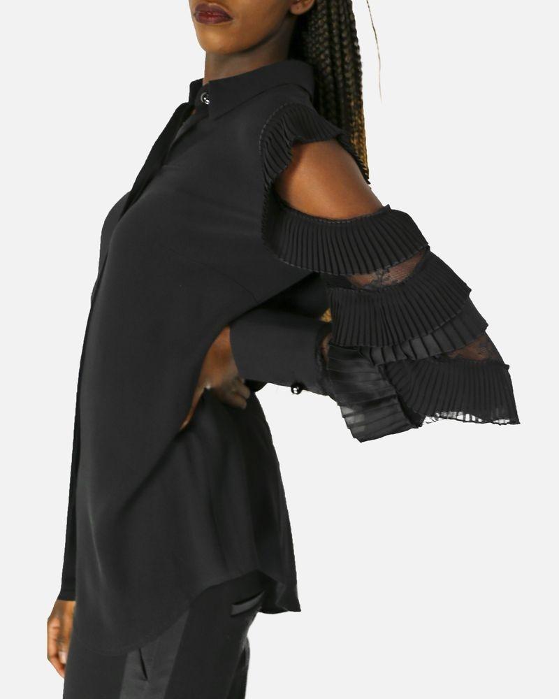 Chemise en soie noir à manche volanté Maria Grazia Severi