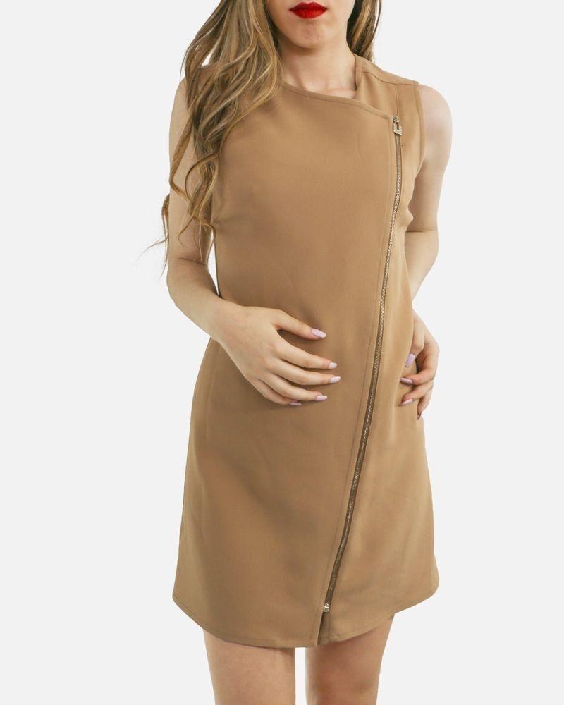 Robe tailleur en crêpe camel à zip Elisabetta Franchi