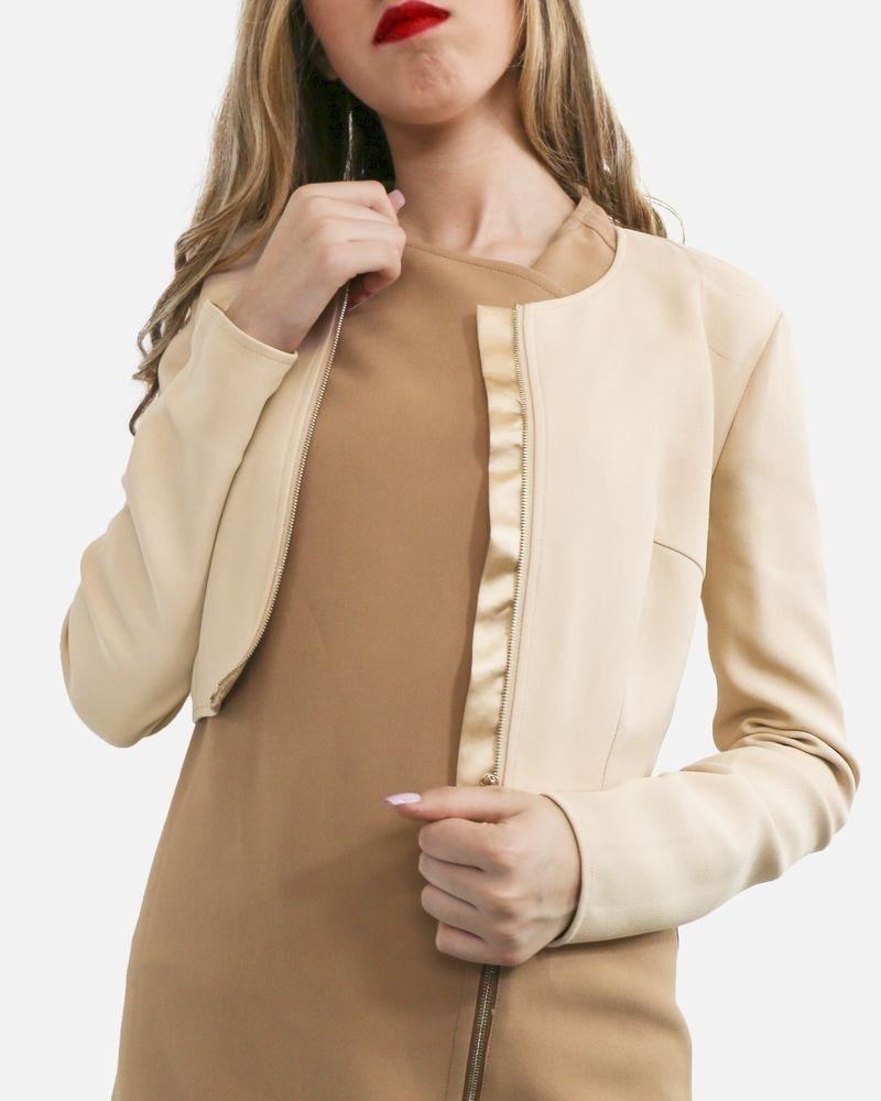 Veste en crêpe côtelé courte beige Elisabetta Franchi