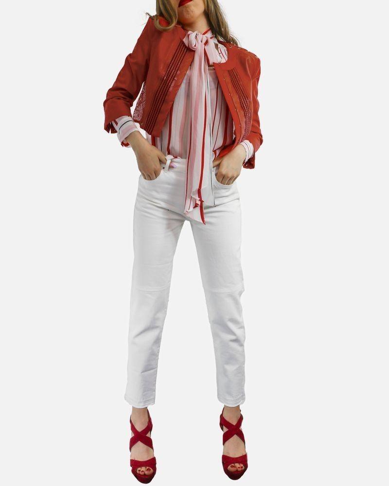 Veste en simili rouge à détail lassage Elisabetha Franchi