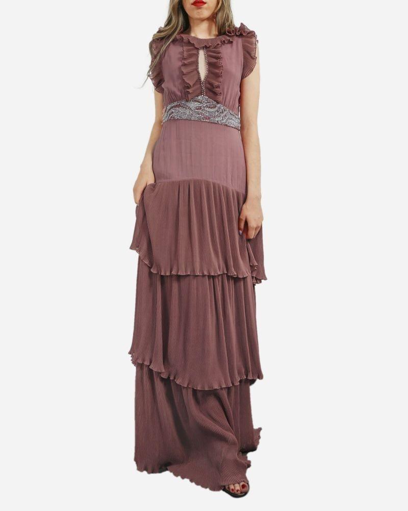 Robe haute couture en mousseline plissée rose à volants Roberto Cavalli