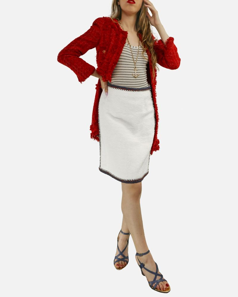 Manteau en tweed Rouge Edward Achour