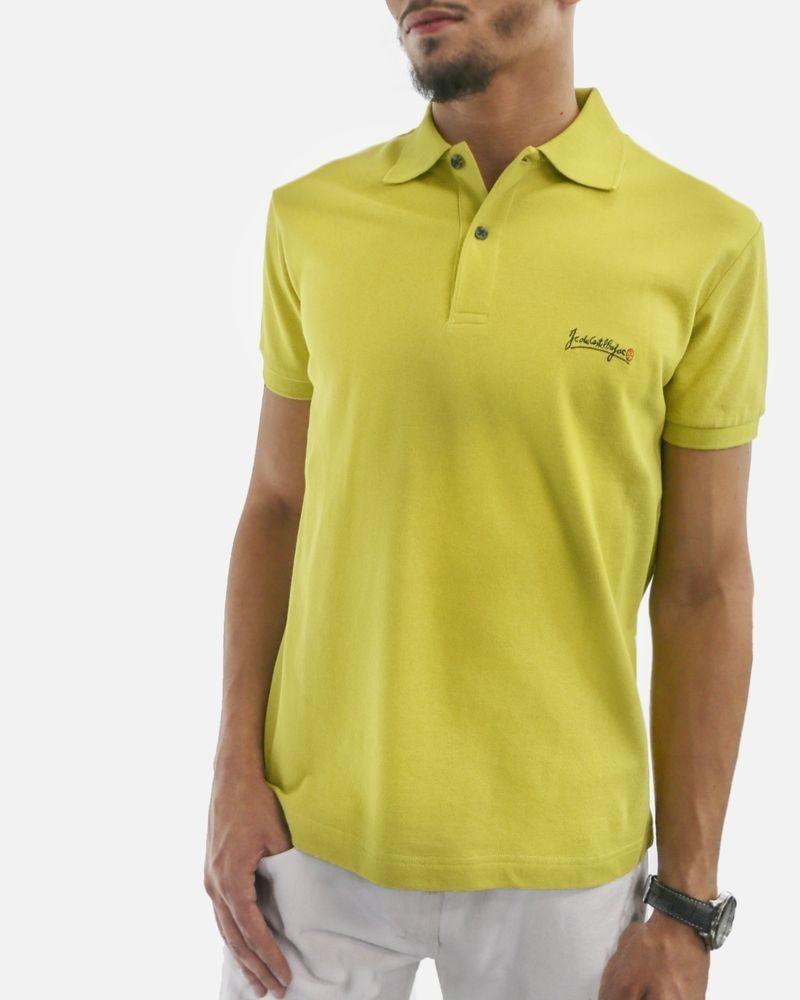 Polo en coton piqué vert citron JC De Castelbajac