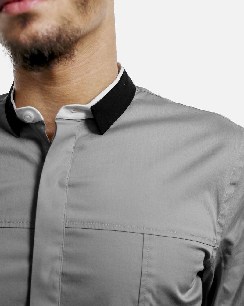 Chemise grise à col fantaisie Les Hommes