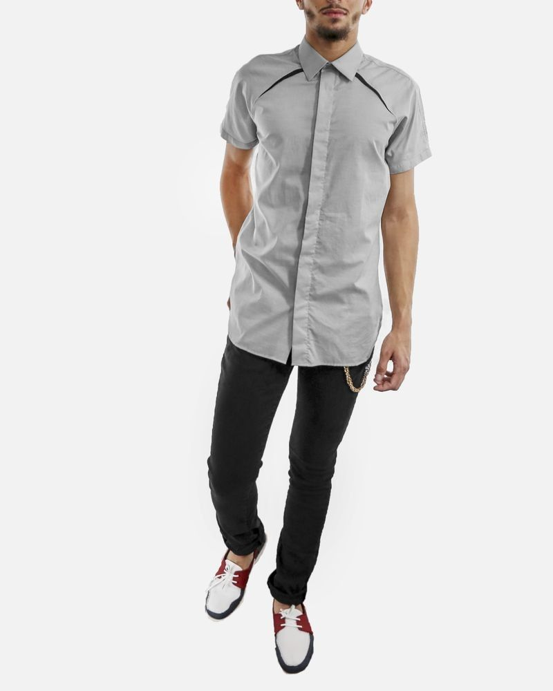 Chemise grise à incrustation fantaisie noir Christian Dior