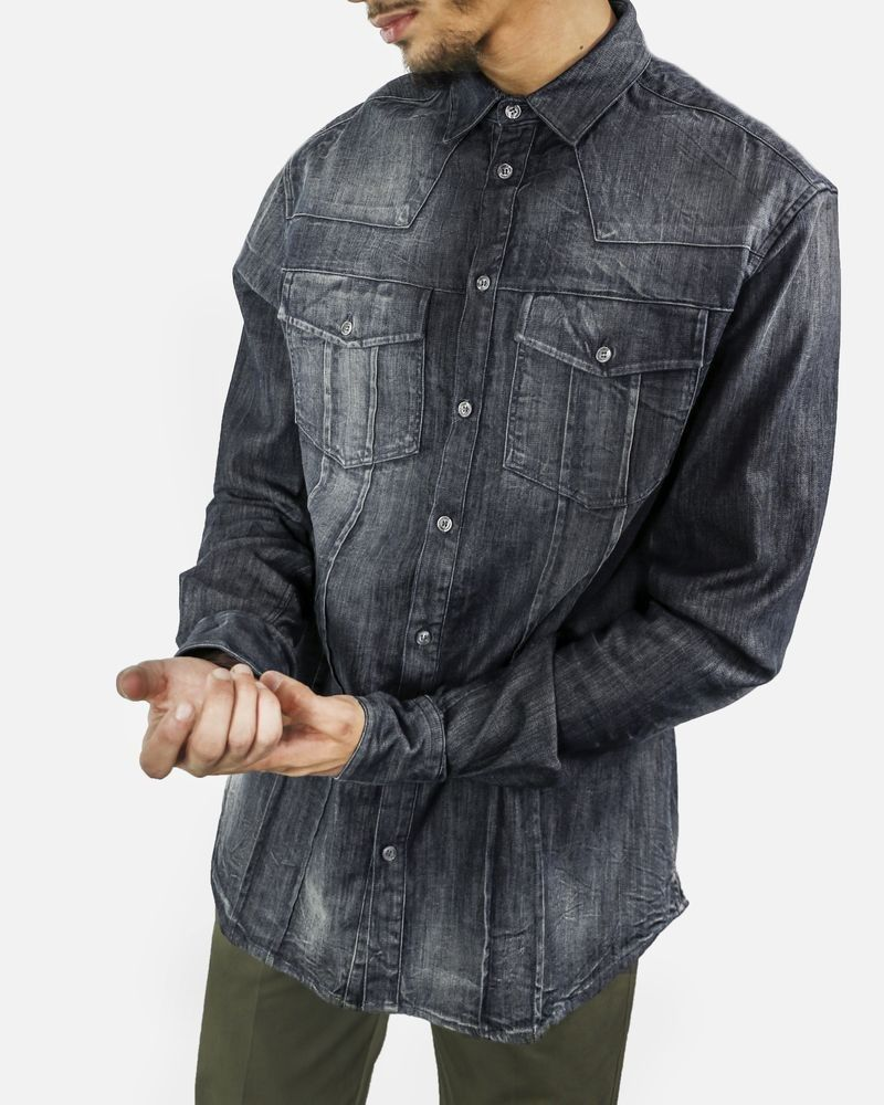 Chemise veste bleue en jean Balmain