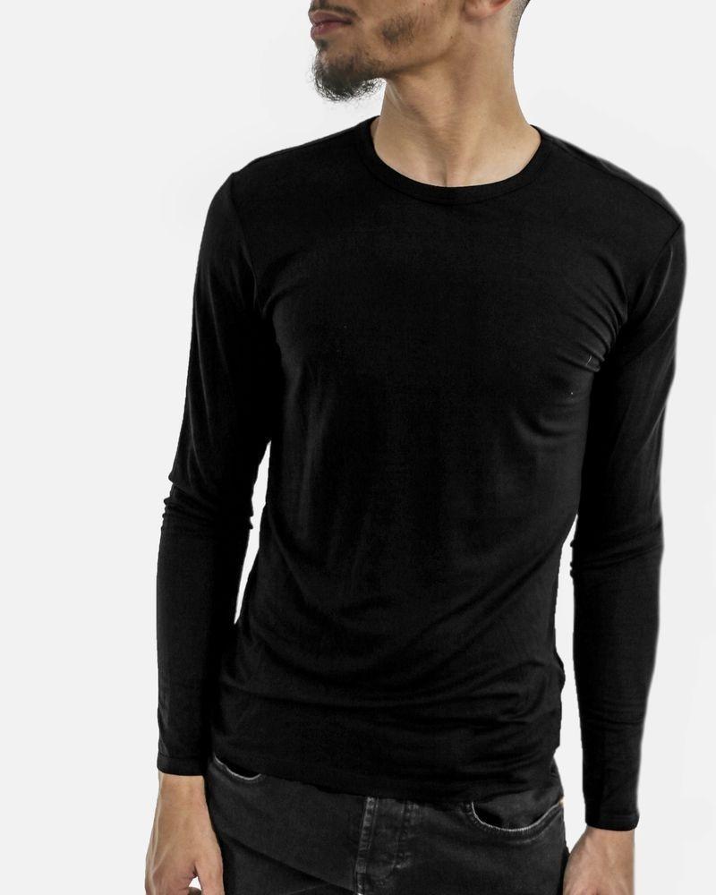 Sweat à manches longues en coton fin noir Hugo Boss