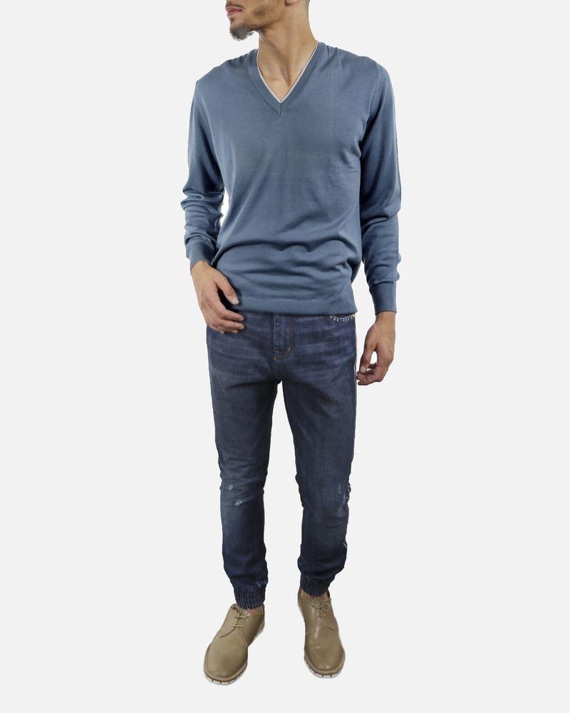 Jean bleu à bandes Frankie Morello Homme