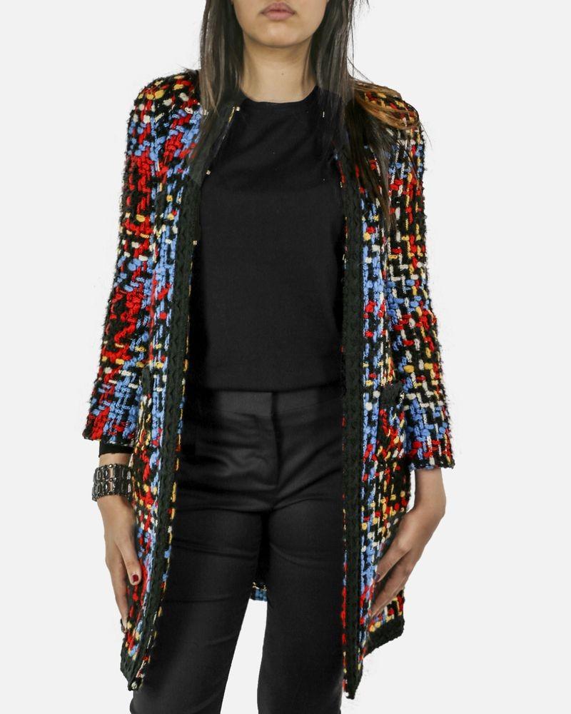 Manteau en tweed noir et tricolore Edward Achour