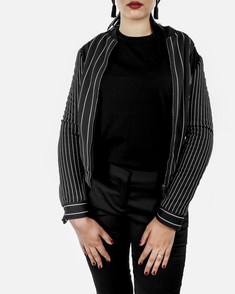 Veste teddy noir à rayures old school John Galliano