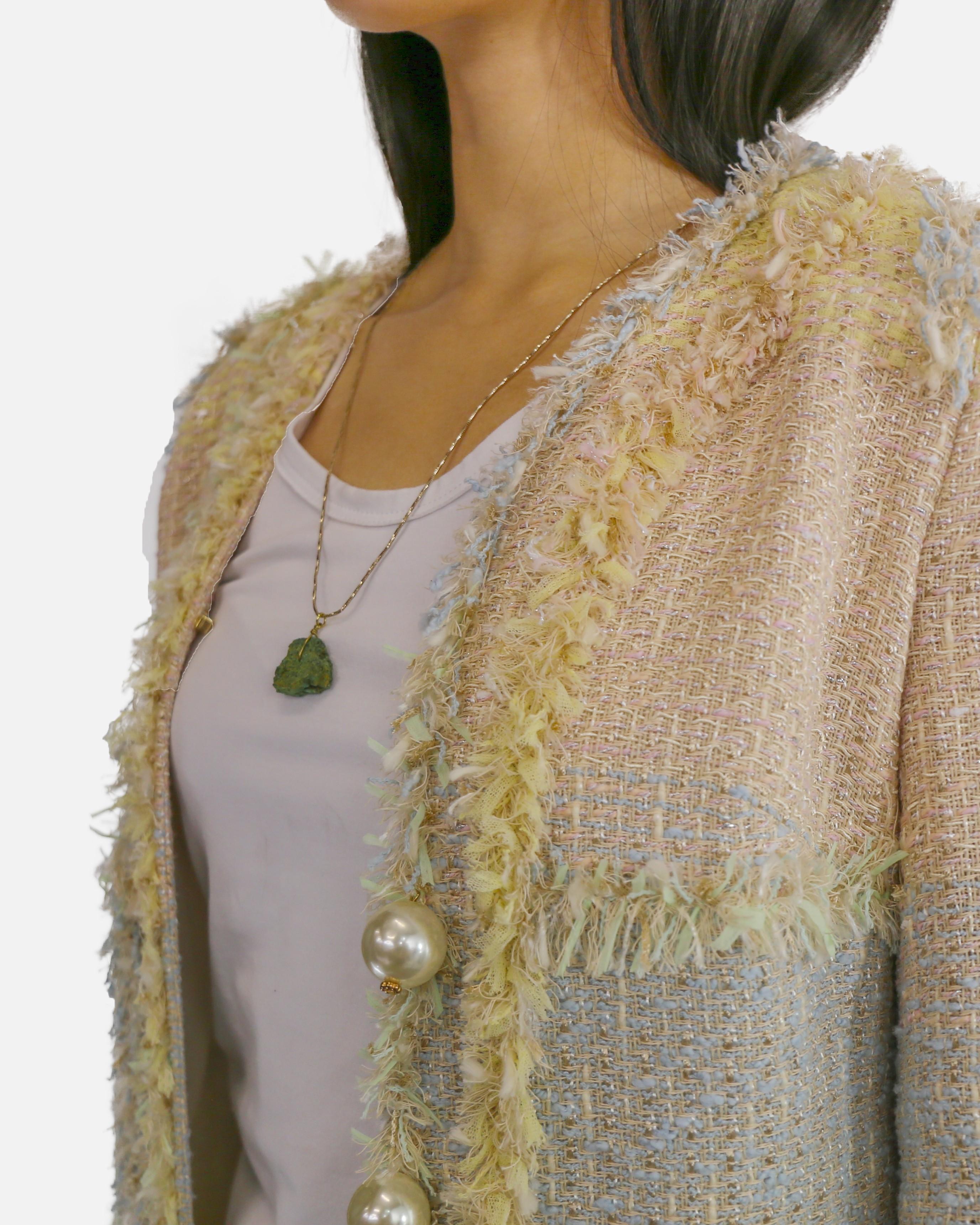 Manteau en tweed multicolore Edward Achour