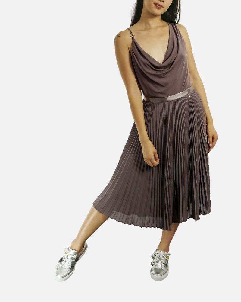 Jupe taupe en mousseline plissée Elisabetta Franchi